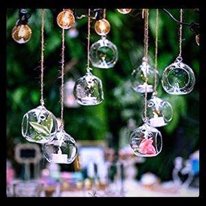Set of 3 Hanging tea light glass globe terrarium.